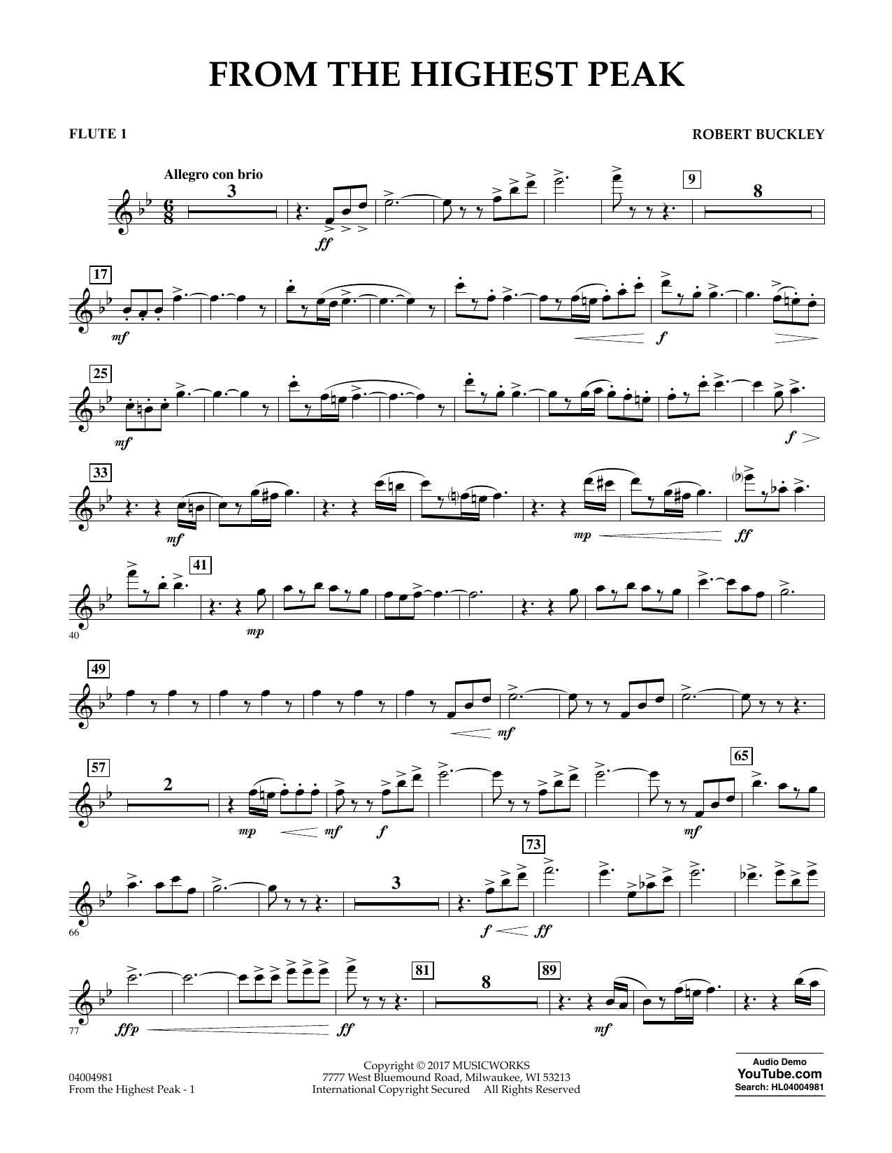 Robert Buckley From the Highest Peak - Flute 1 sheet music notes and chords. Download Printable PDF.