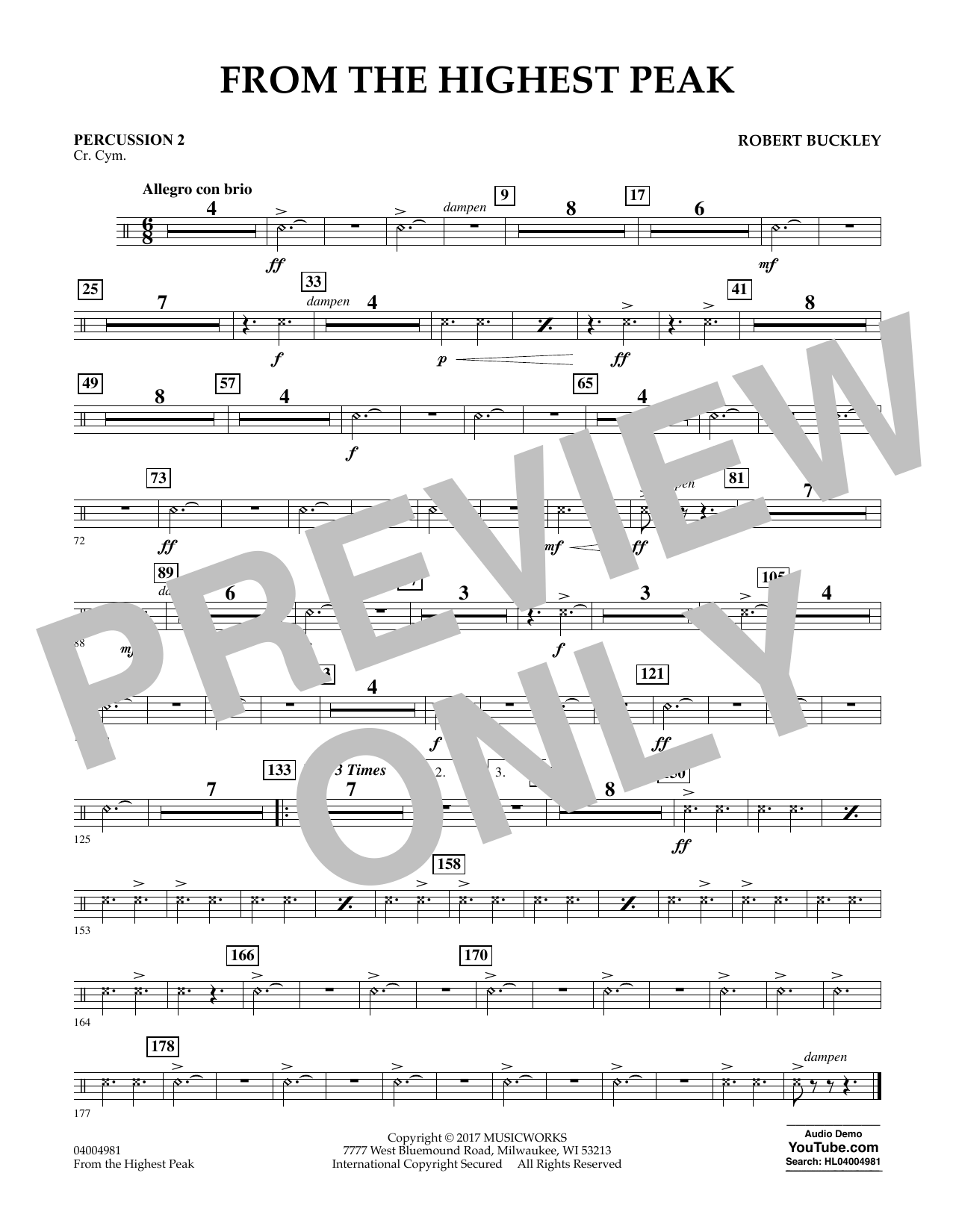 Robert Buckley From the Highest Peak - Percussion 2 sheet music notes and chords. Download Printable PDF.