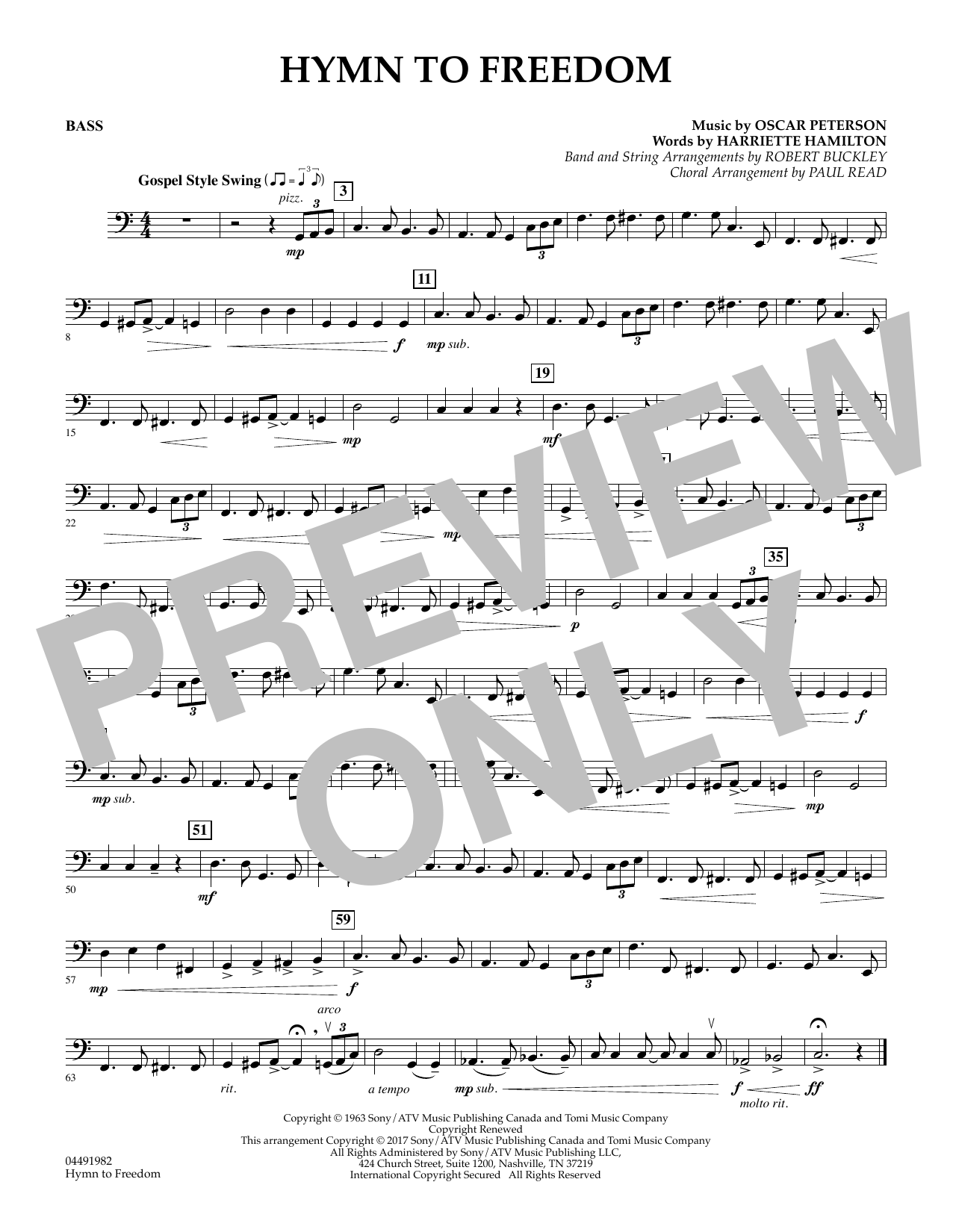 Robert Buckley Hymn to Freedom - Bass sheet music notes and chords. Download Printable PDF.