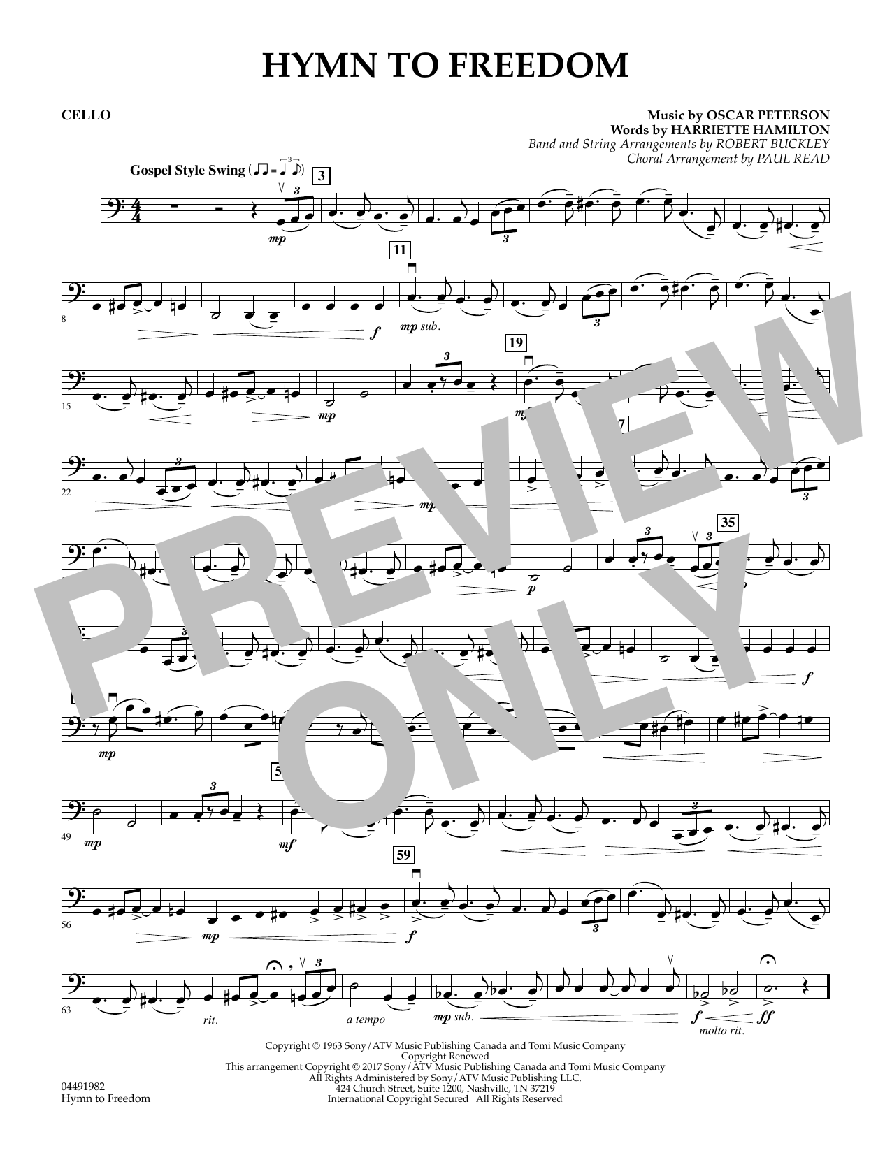 Robert Buckley Hymn to Freedom - Cello sheet music notes and chords. Download Printable PDF.