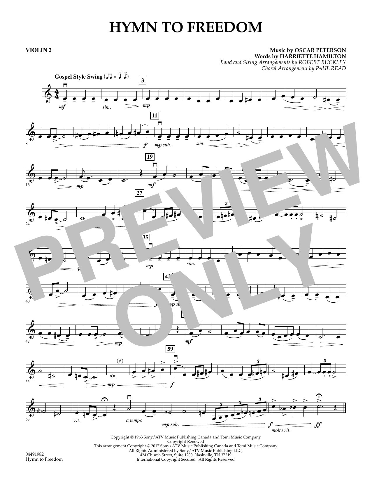 Robert Buckley Hymn to Freedom - Violin 2 sheet music notes and chords. Download Printable PDF.