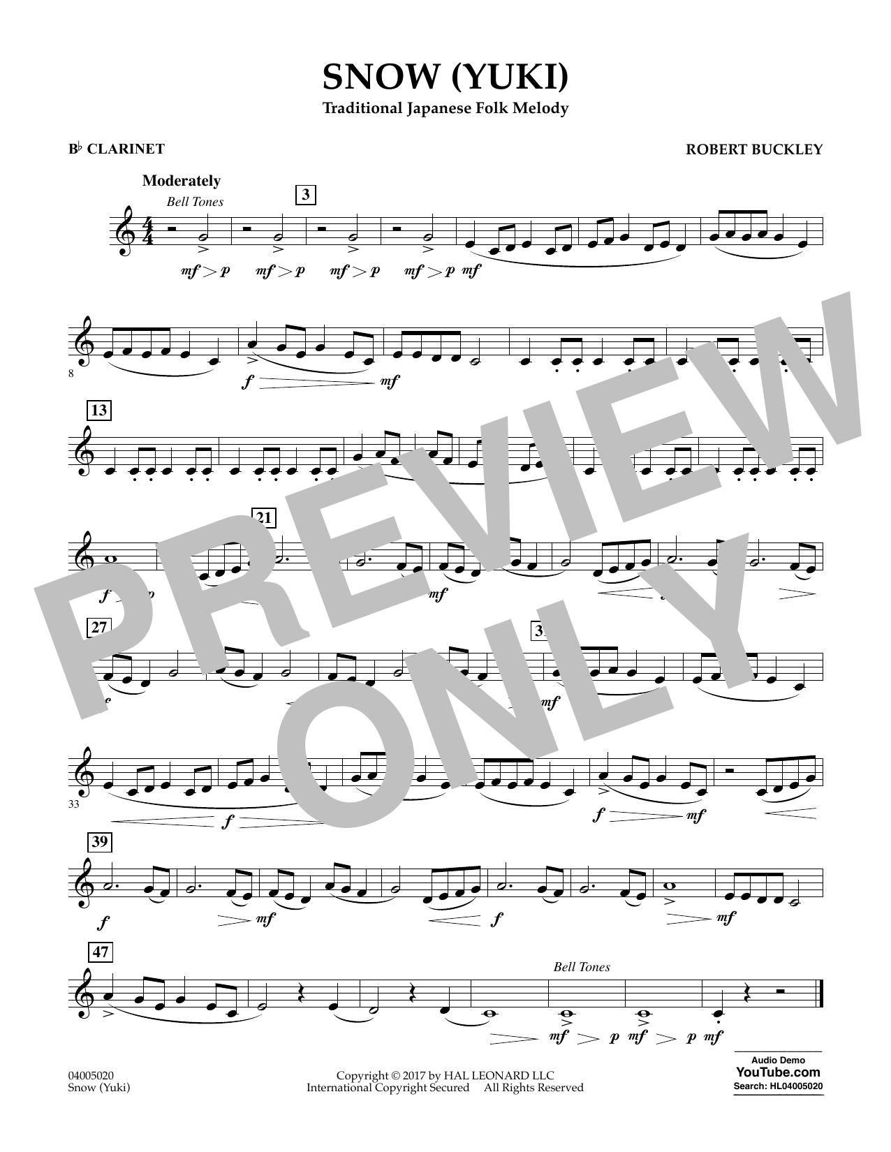 Robert Buckley Snow (Yuki) - Bb Clarinet sheet music notes and chords. Download Printable PDF.