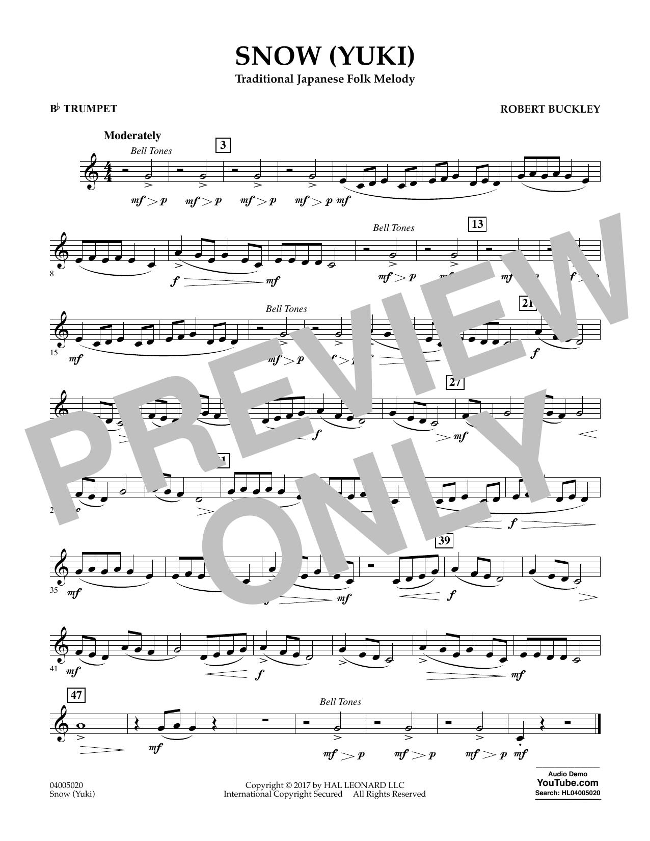 Robert Buckley Snow (Yuki) - Bb Trumpet sheet music notes and chords. Download Printable PDF.