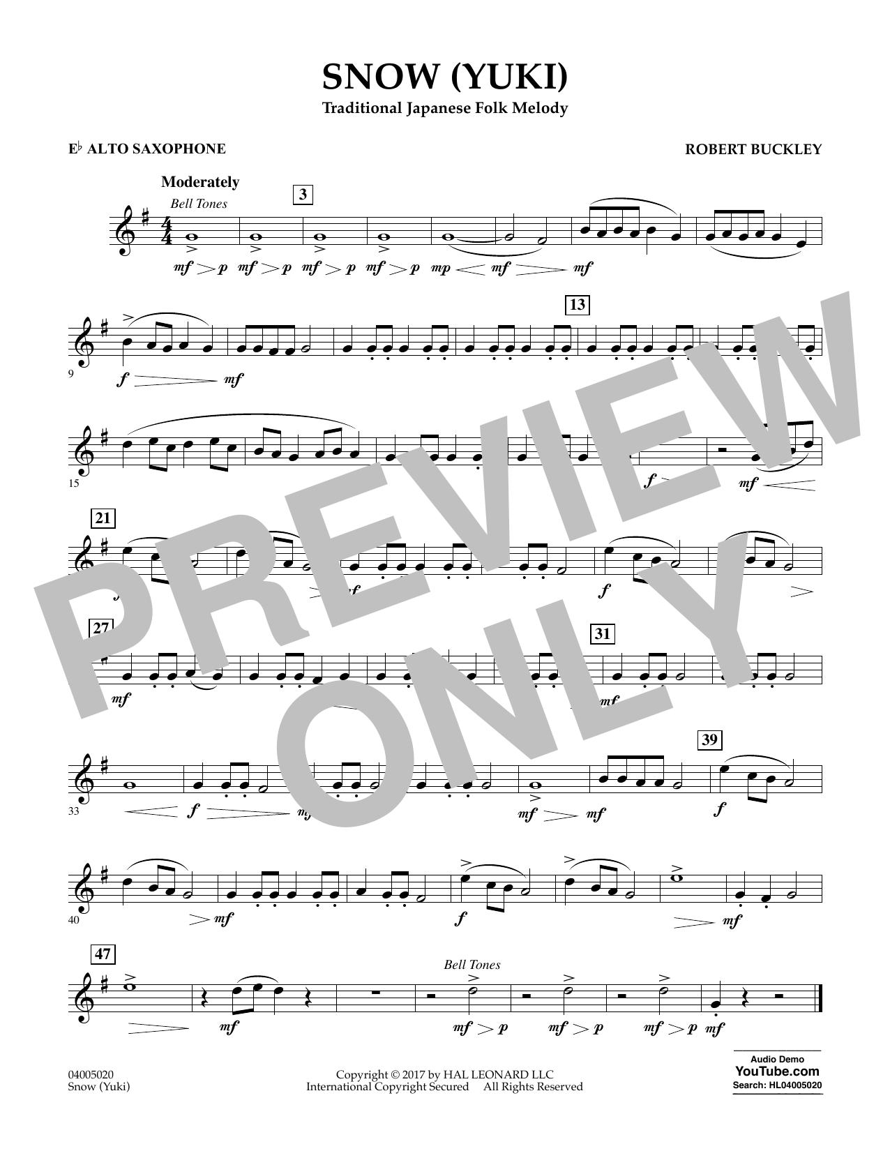 Robert Buckley Snow (Yuki) - Eb Alto Saxophone sheet music notes and chords. Download Printable PDF.