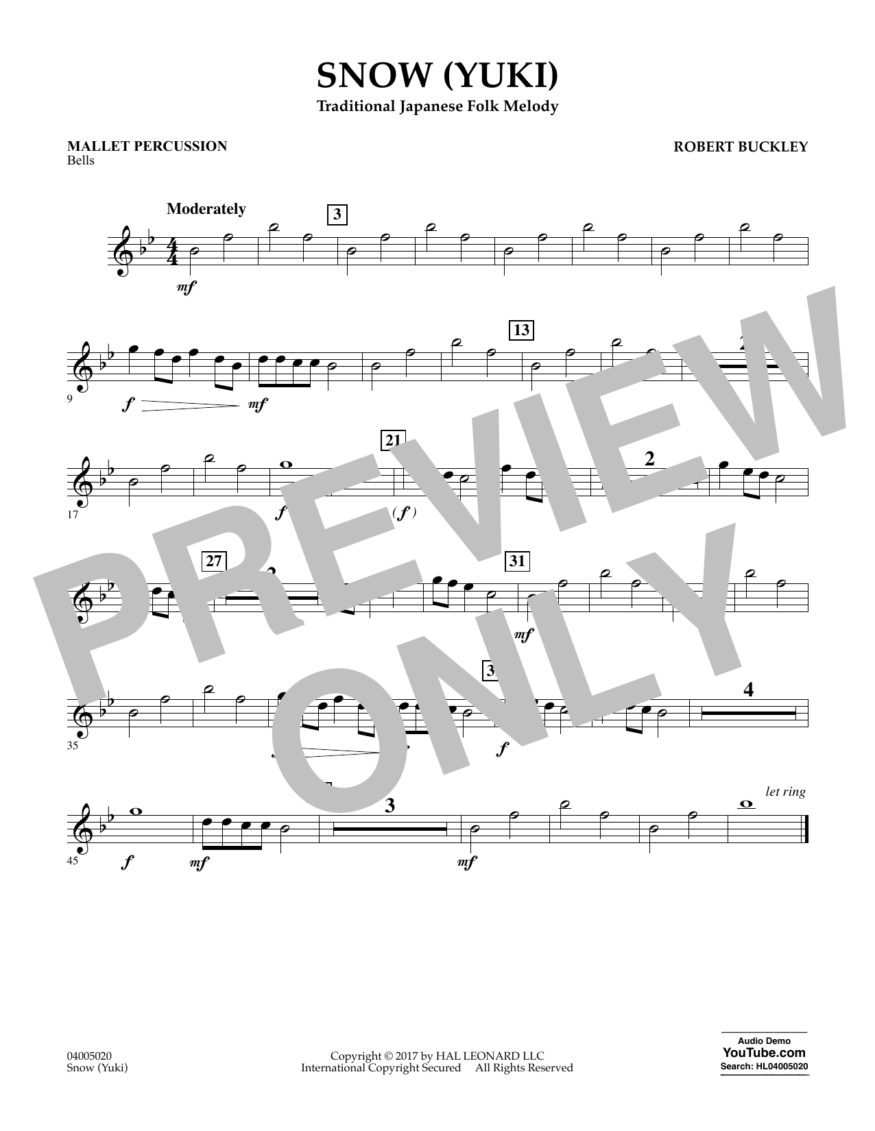 Robert Buckley Snow (Yuki) - Mallet Percussion sheet music notes and chords. Download Printable PDF.