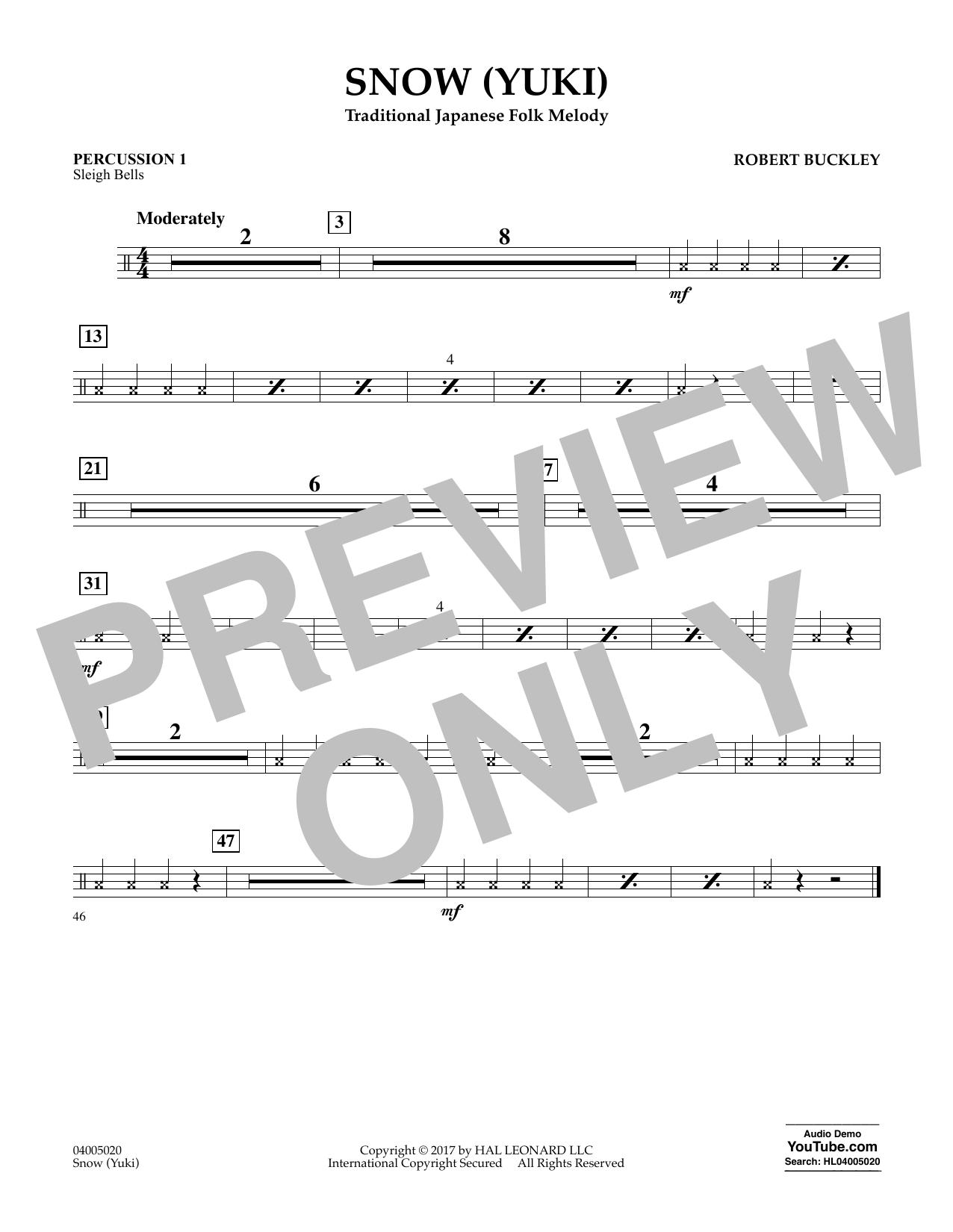 Robert Buckley Snow (Yuki) - Percussion 1 sheet music notes and chords. Download Printable PDF.