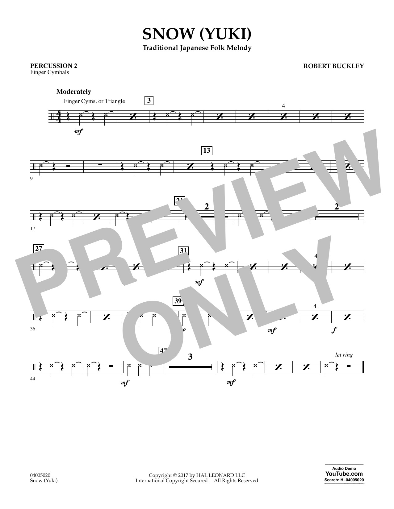 Robert Buckley Snow (Yuki) - Percussion 2 sheet music notes and chords. Download Printable PDF.