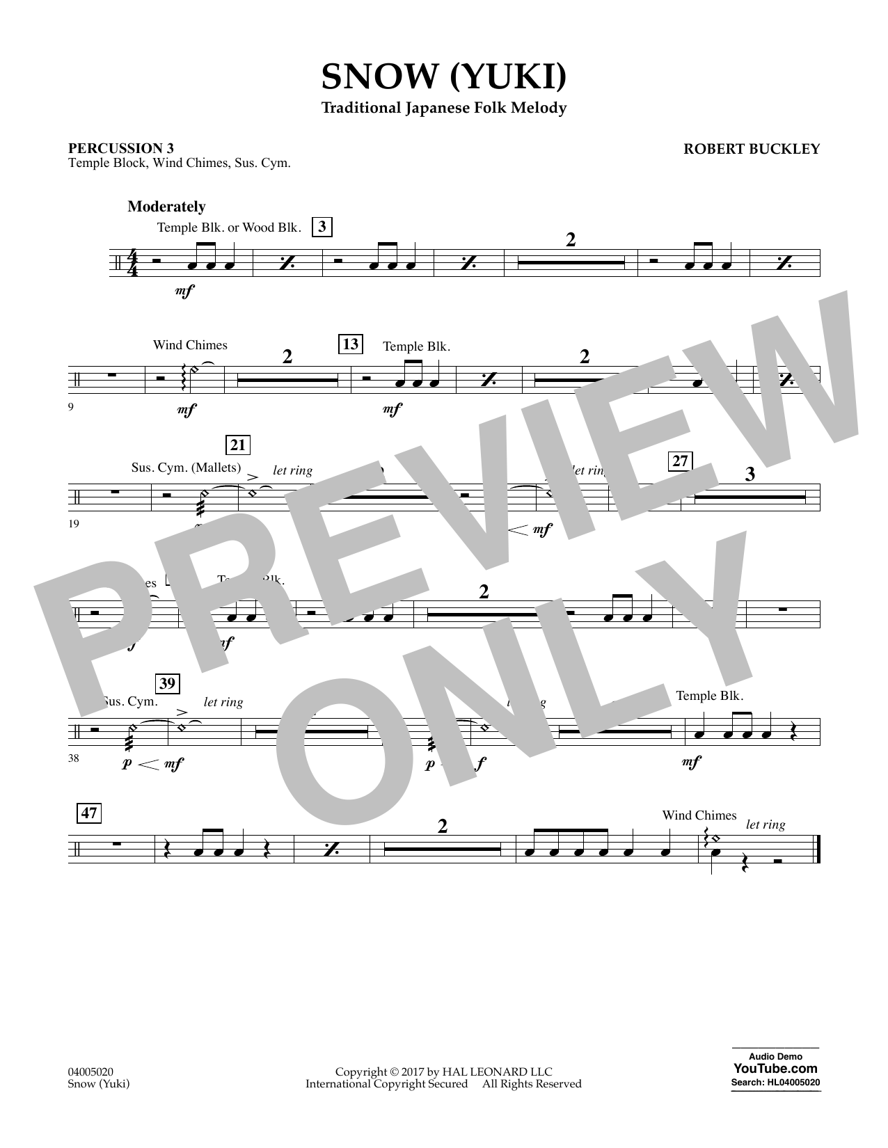 Robert Buckley Snow (Yuki) - Percussion 3 sheet music notes and chords. Download Printable PDF.
