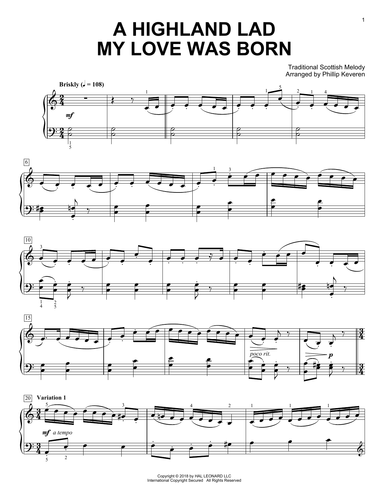 Robert Burns A Highland Lad My Love Was Born (arr. Phillip Keveren) sheet music notes and chords
