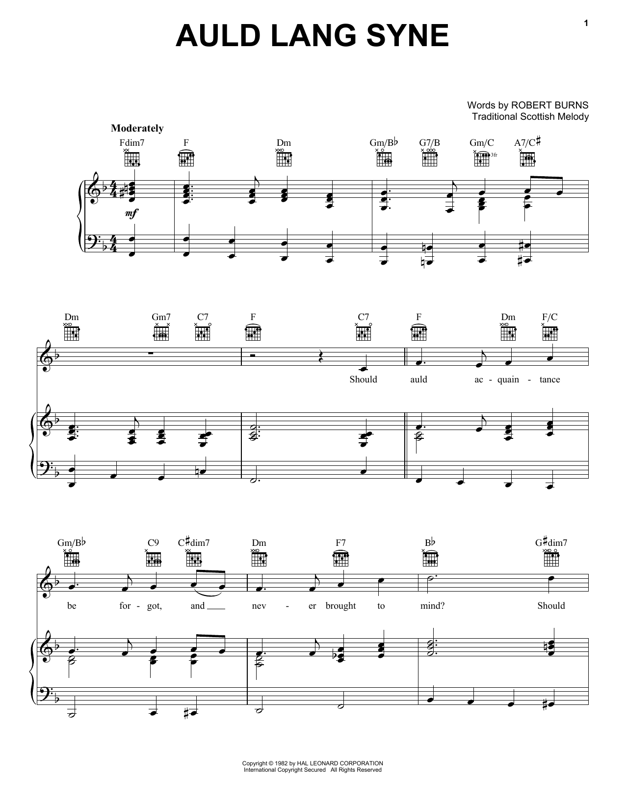 Robert Burns Auld Lang Syne sheet music notes and chords