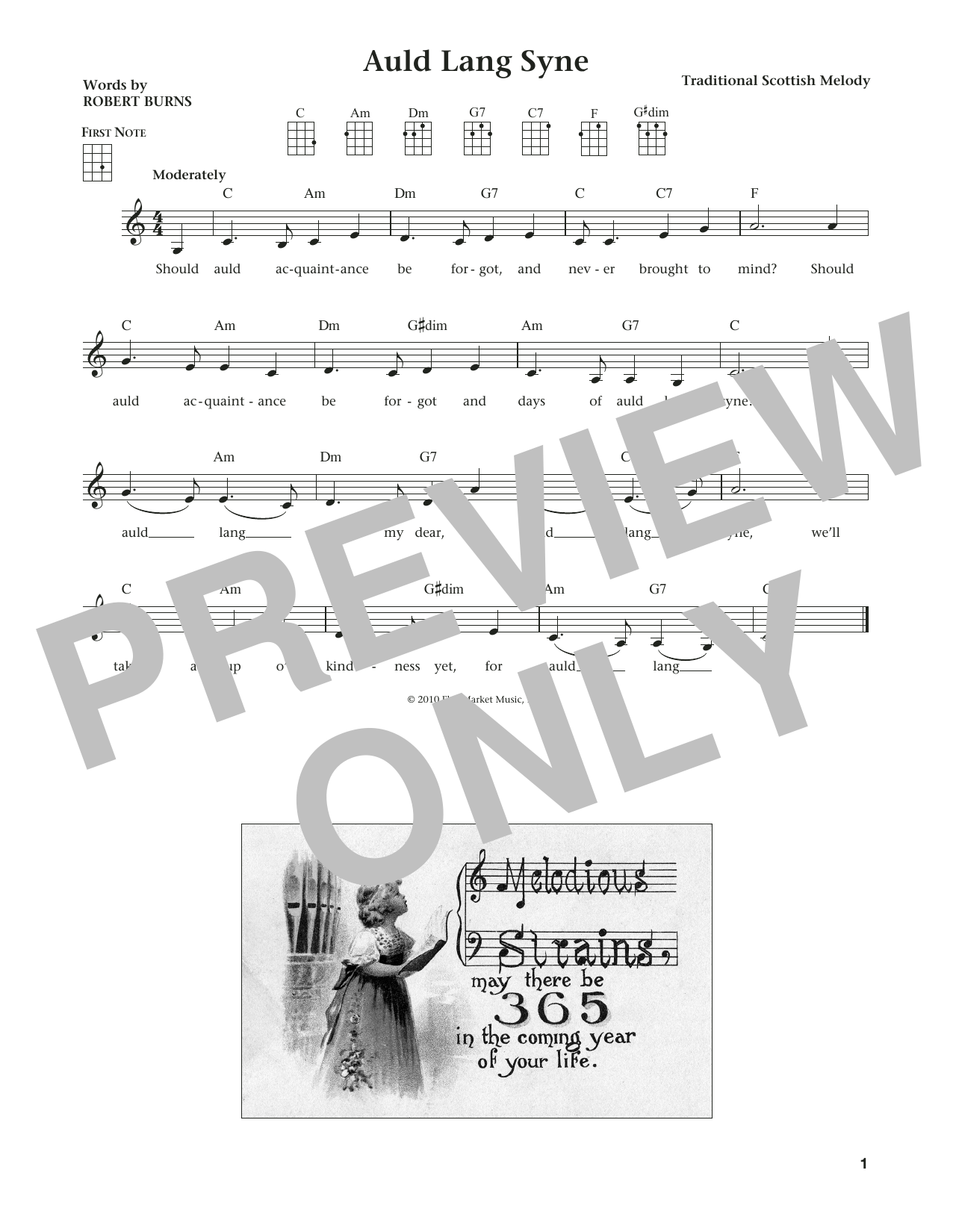 Robert Burns Auld Lang Syne (from The Daily Ukulele) (arr. Liz and Jim Beloff) sheet music notes and chords
