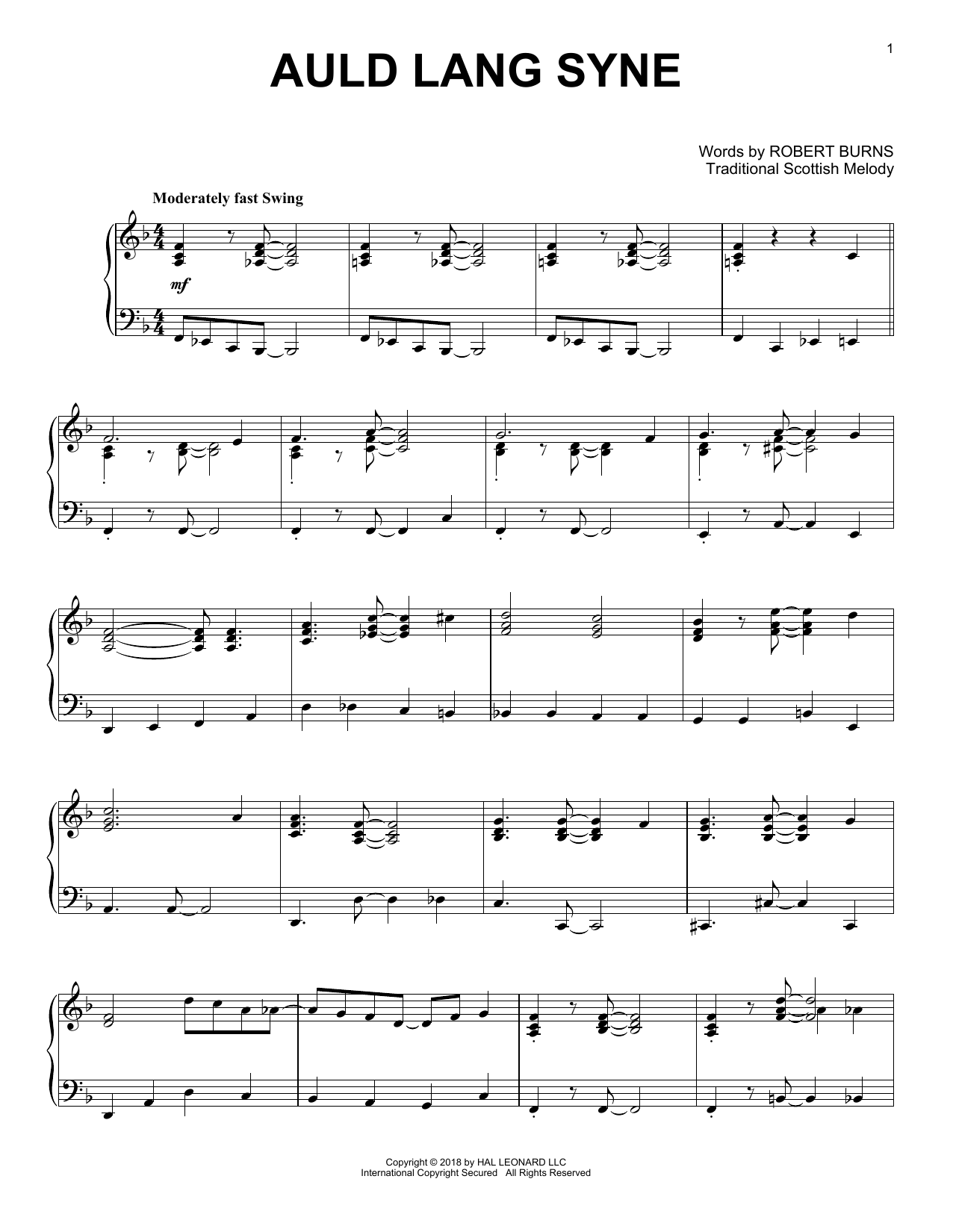 Robert Burns Auld Lang Syne [Jazz version] sheet music notes and chords. Download Printable PDF.