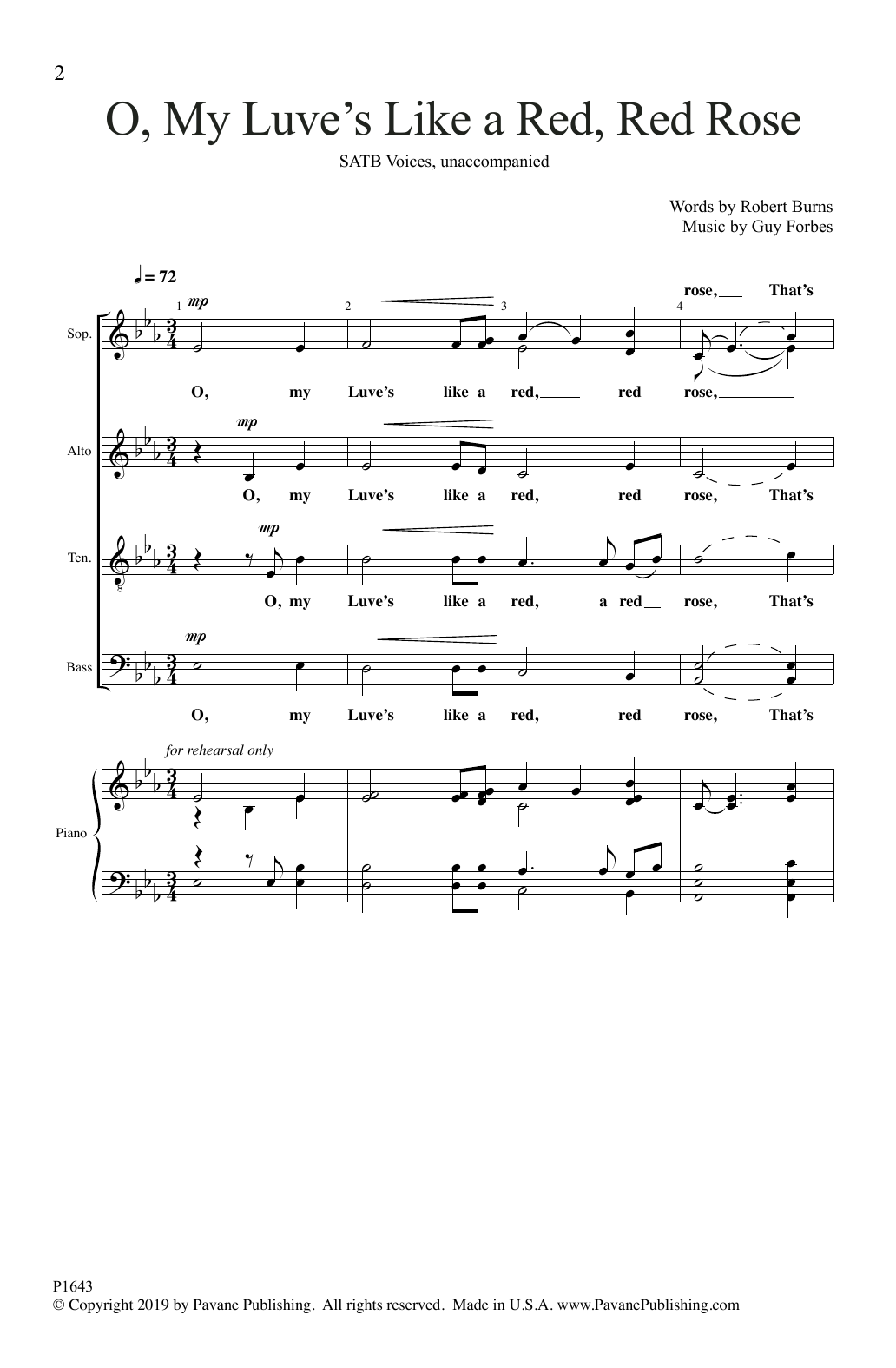 Robert Burns and Guy Forbes O, My Luve's Like a Red, Red Rose sheet music notes and chords. Download Printable PDF.