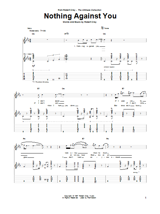 Robert Cray Nothing Against You sheet music notes and chords. Download Printable PDF.