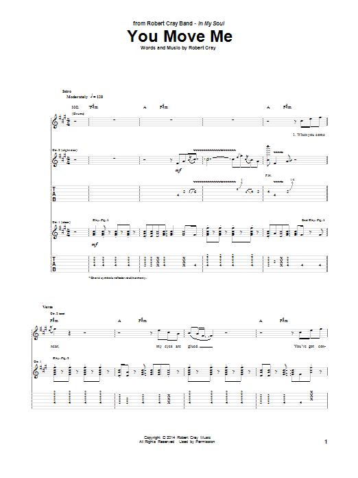 Robert Cray You Move Me sheet music notes and chords. Download Printable PDF.