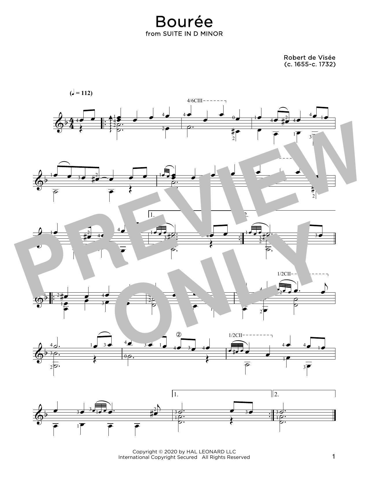 Robert de Visee Bouree sheet music notes and chords. Download Printable PDF.