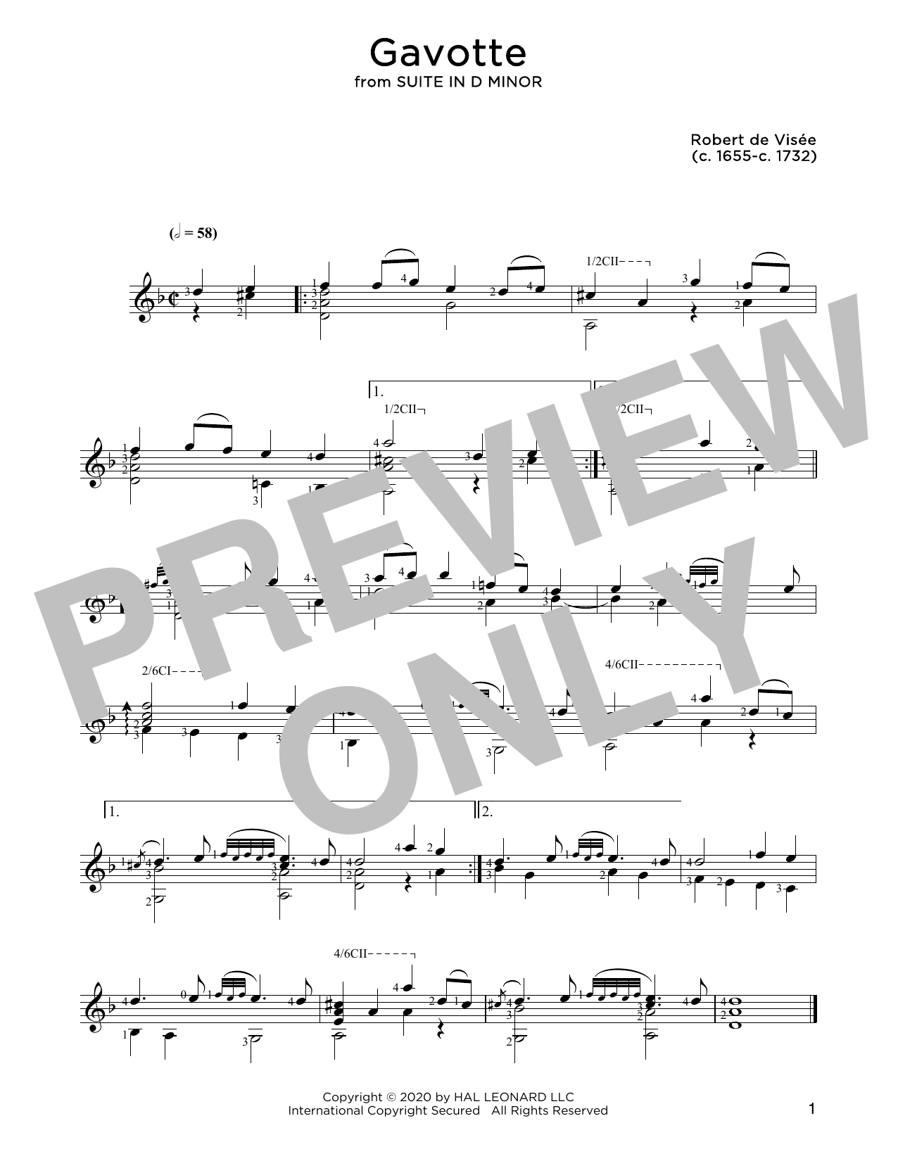 Robert de Visee Gavotte sheet music notes and chords. Download Printable PDF.