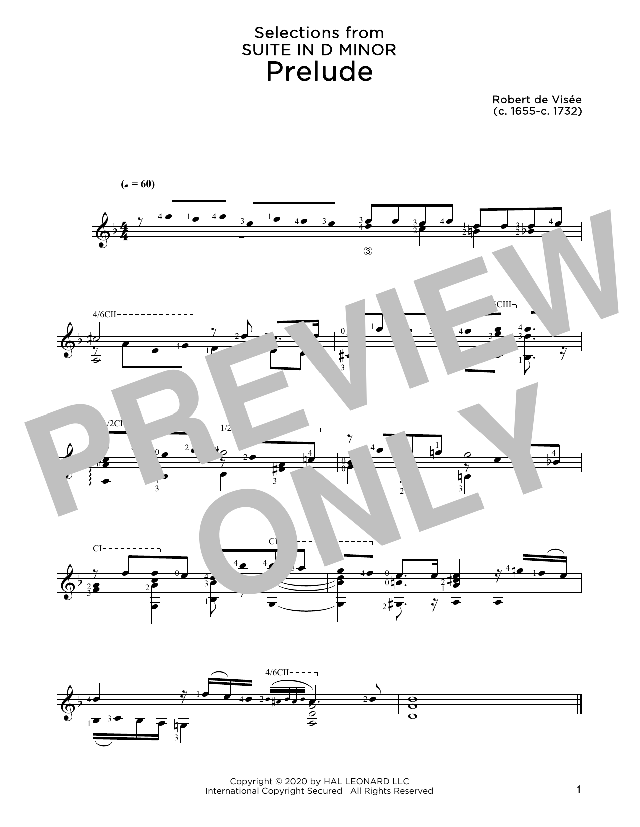 Robert de Visee Prelude sheet music notes and chords. Download Printable PDF.