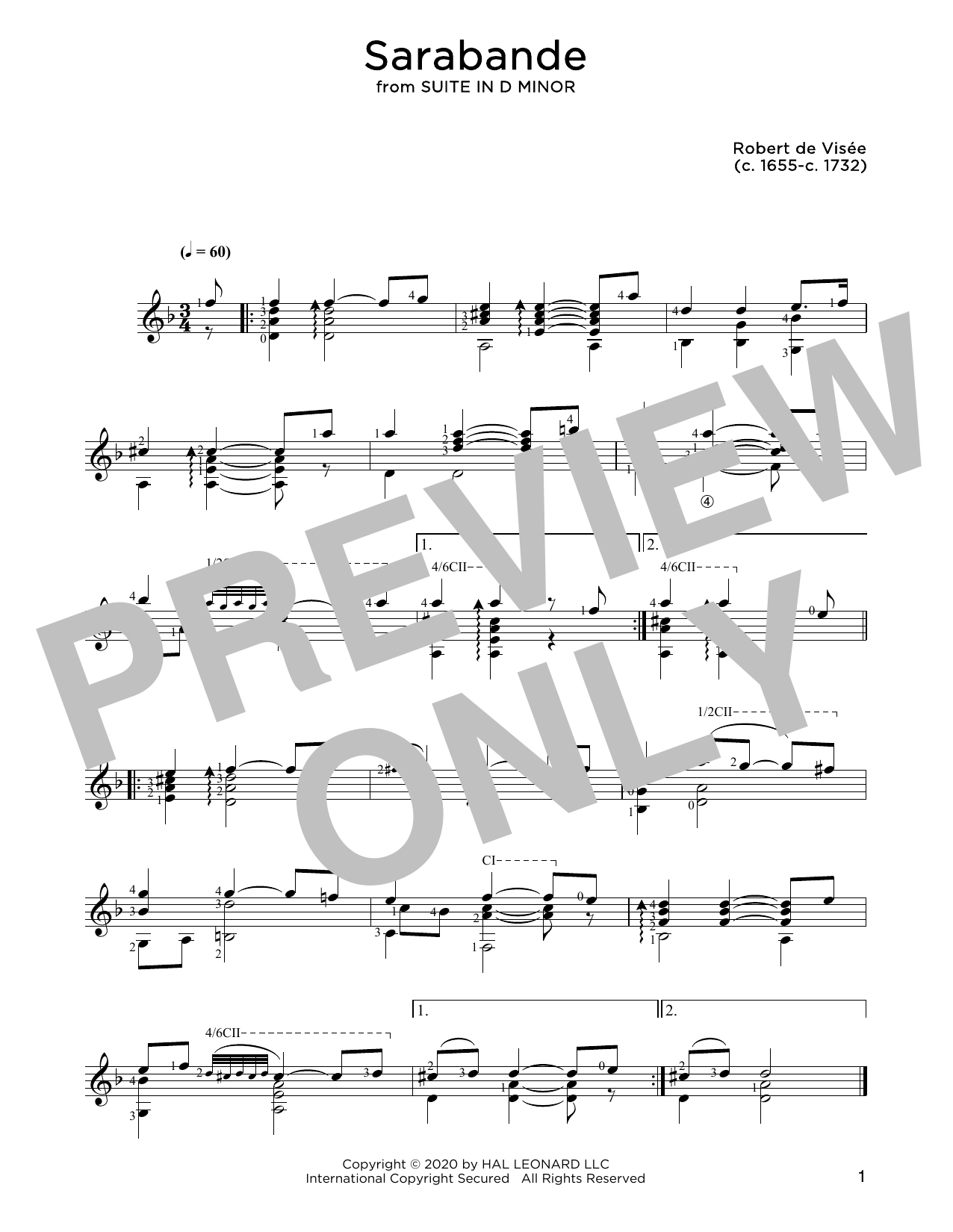 Robert de Visee Sarabande sheet music notes and chords. Download Printable PDF.
