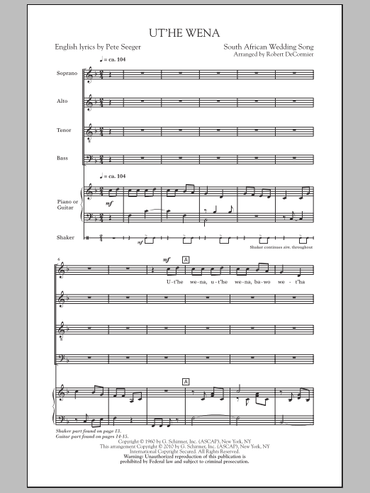 Robert DeCormier Ut'he Wena sheet music notes and chords. Download Printable PDF.