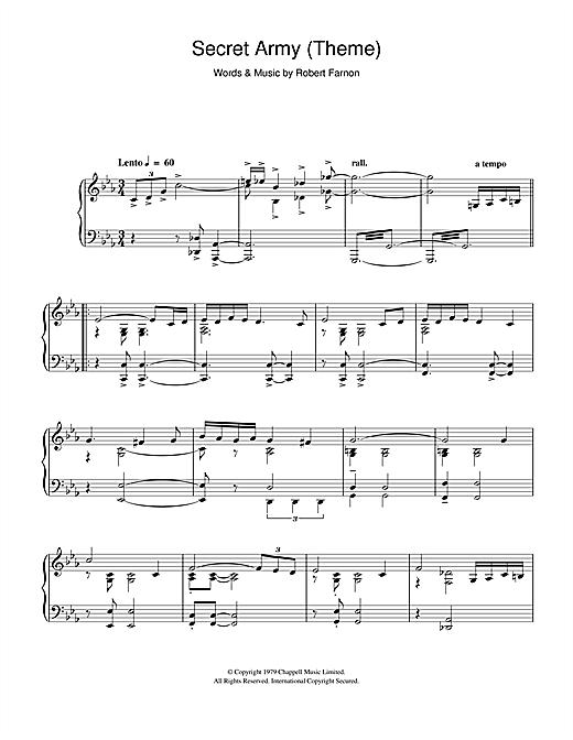 Robert Farnon Secret Army (Theme) sheet music notes and chords. Download Printable PDF.