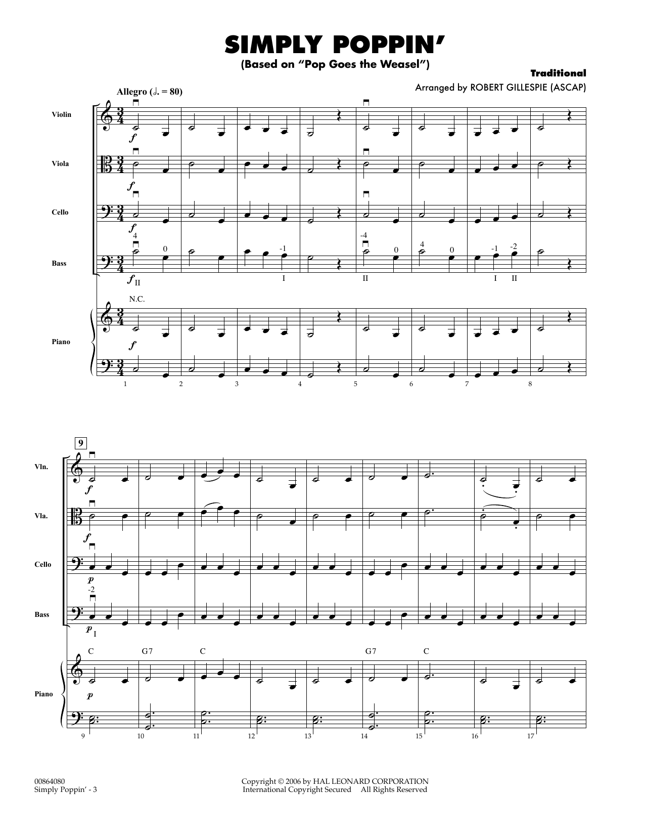 Robert Gillespie Simply Poppin' (based On Pop Goes The Weasel) - Full Score sheet music notes and chords