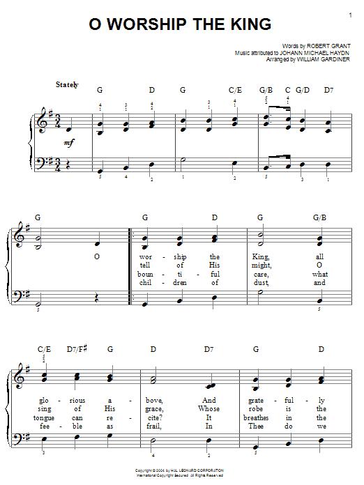 Robert Grant O Worship The King sheet music notes and chords. Download Printable PDF.