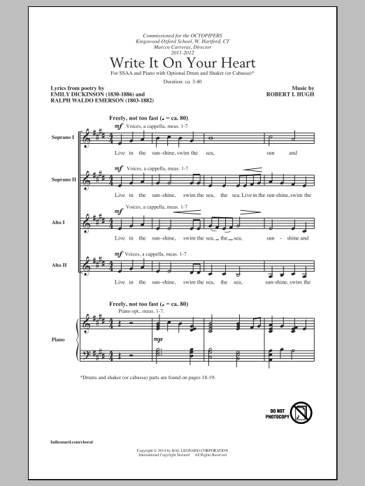 Robert I. Hugh Write It On Your Heart sheet music notes and chords. Download Printable PDF.