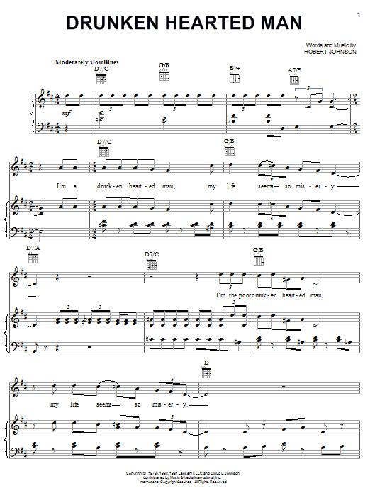 Robert Johnson Drunken Hearted Man sheet music notes and chords. Download Printable PDF.