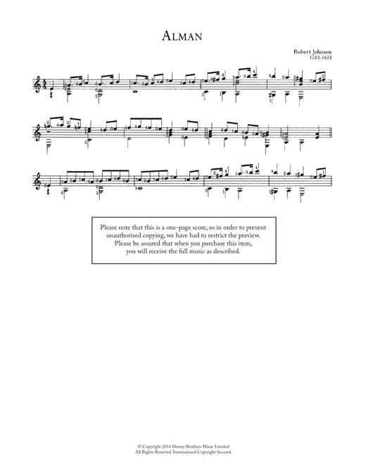 Robert Johnson II Alman sheet music notes and chords