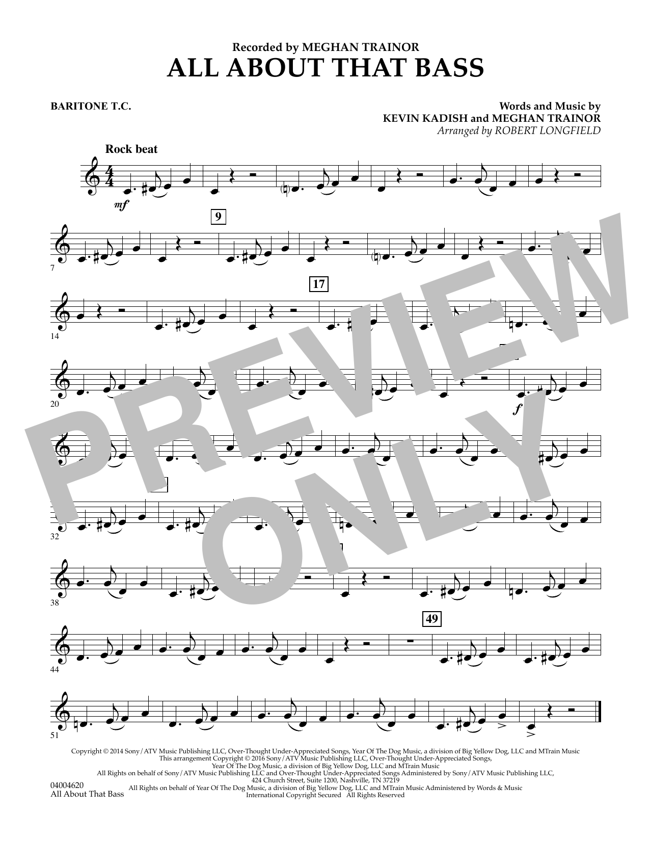 Robert Longfield All About That Bass - Baritone T.C. sheet music notes and chords. Download Printable PDF.