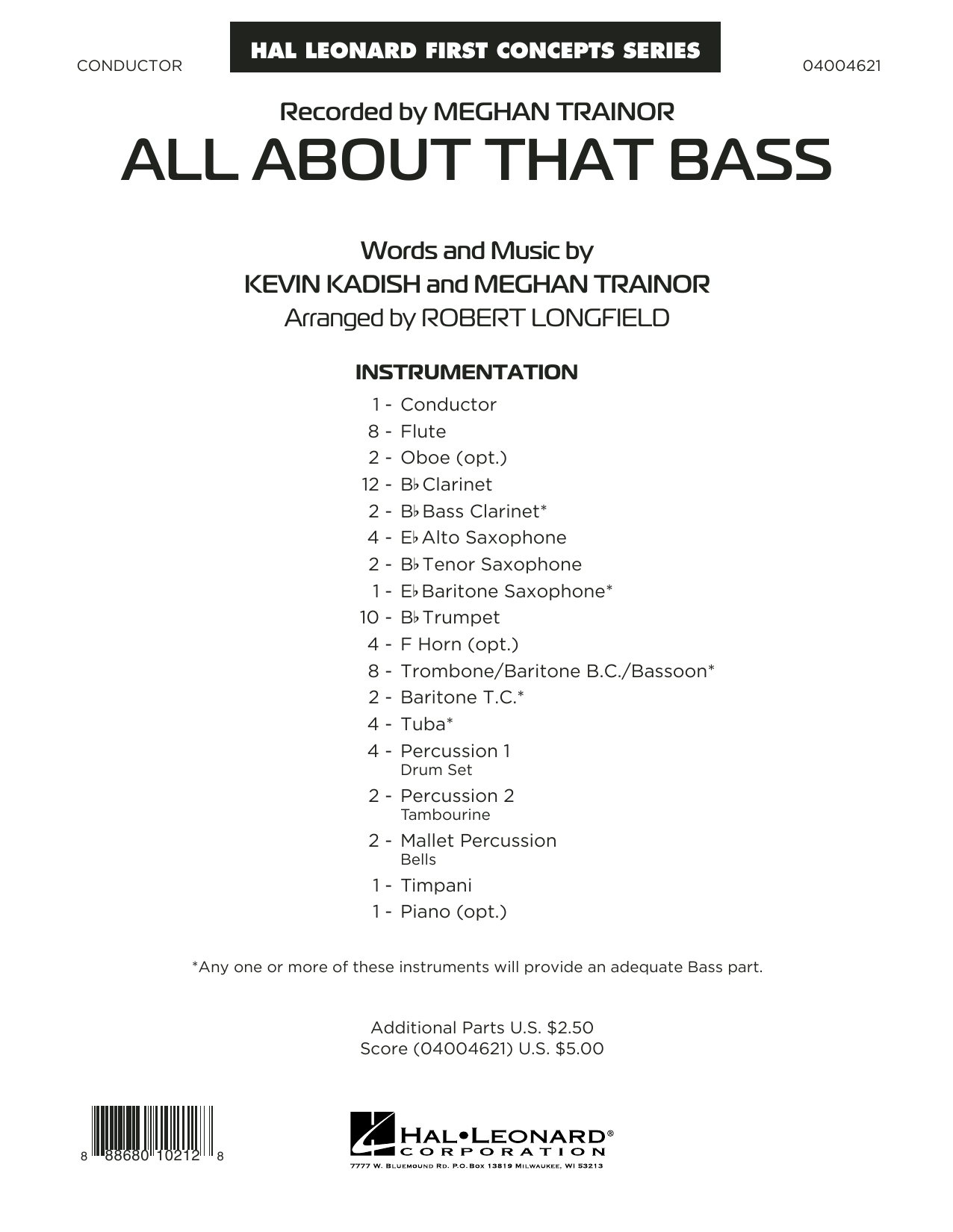 Robert Longfield All About That Bass - Conductor Score (Full Score) sheet music notes and chords. Download Printable PDF.