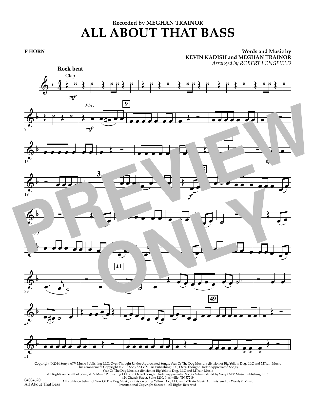 Robert Longfield All About That Bass - F Horn sheet music notes and chords. Download Printable PDF.