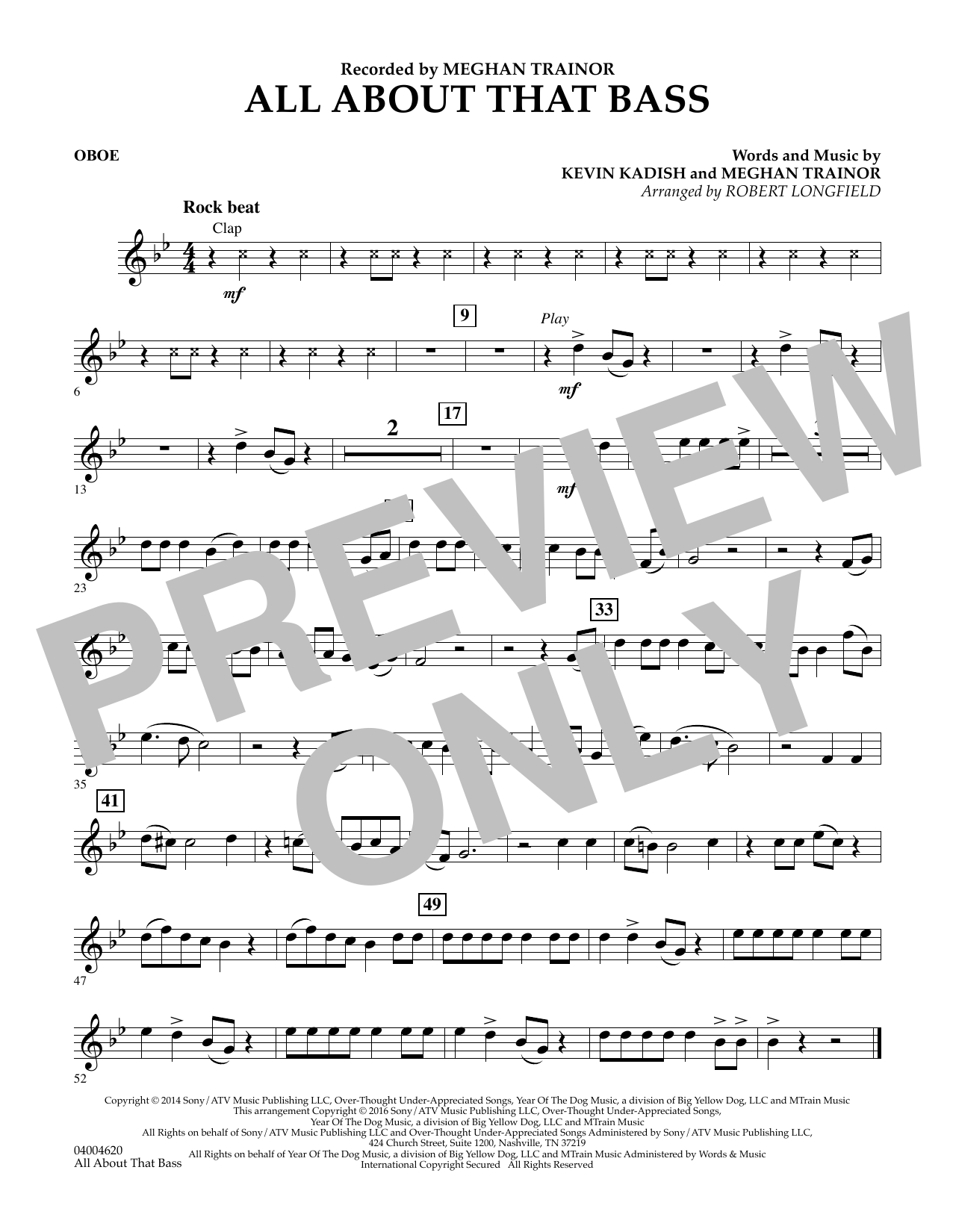 Robert Longfield All About That Bass - Oboe sheet music notes and chords. Download Printable PDF.