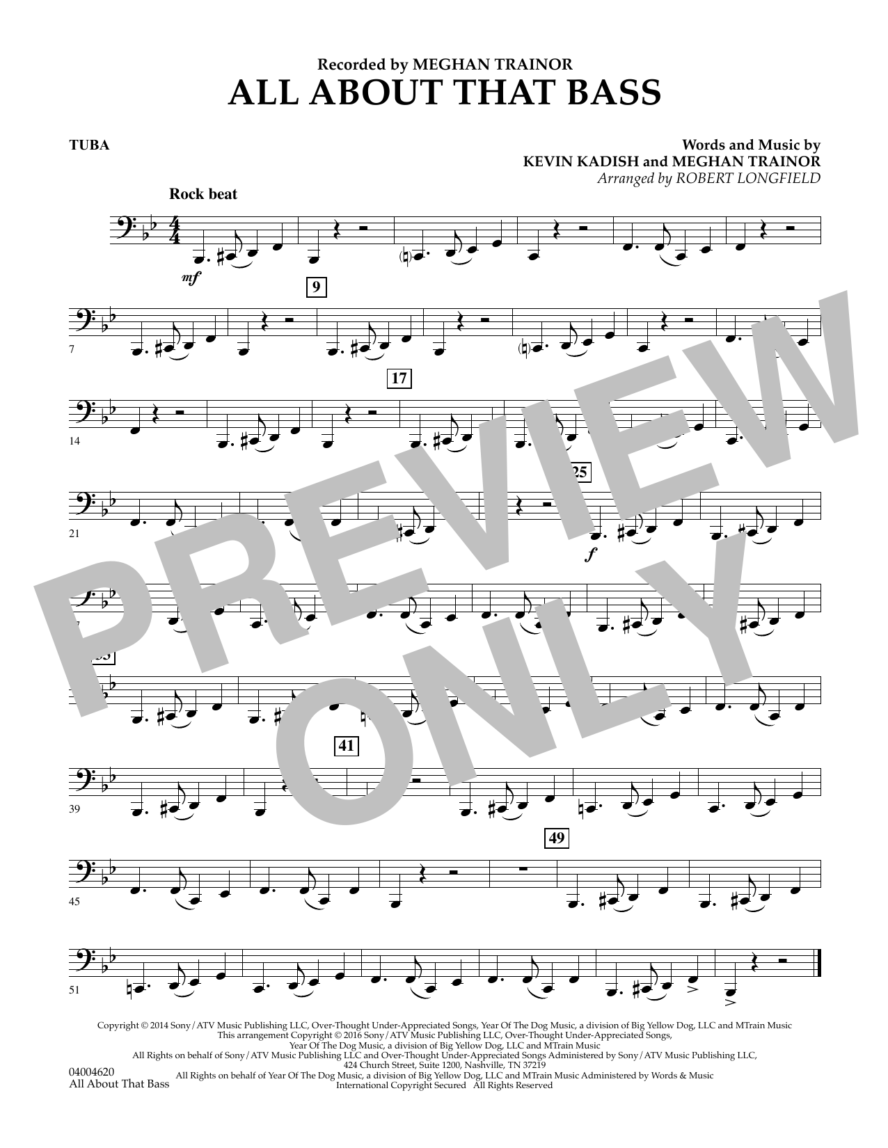 Robert Longfield All About That Bass - Tuba sheet music notes and chords. Download Printable PDF.