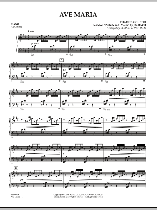 Robert Longfield Ave Maria - Piano sheet music notes and chords. Download Printable PDF.