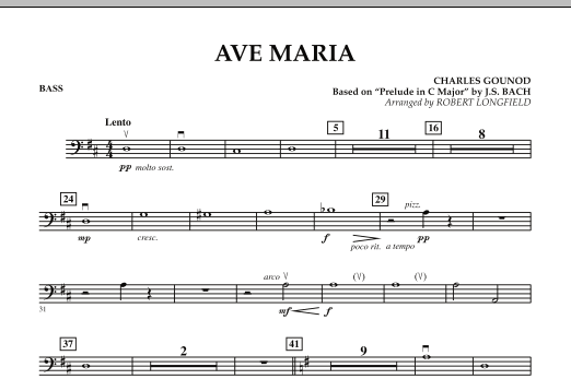 Robert Longfield Ave Maria - String Bass sheet music notes and chords. Download Printable PDF.