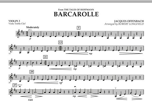 Robert Longfield Barcarolle - Violin 3 (Viola Treble Clef) sheet music notes and chords. Download Printable PDF.