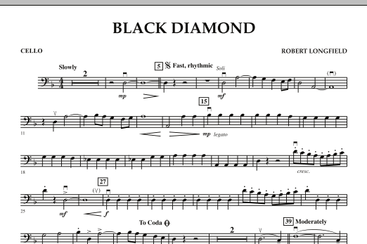 Robert Longfield Black Diamond - Cello sheet music notes and chords. Download Printable PDF.