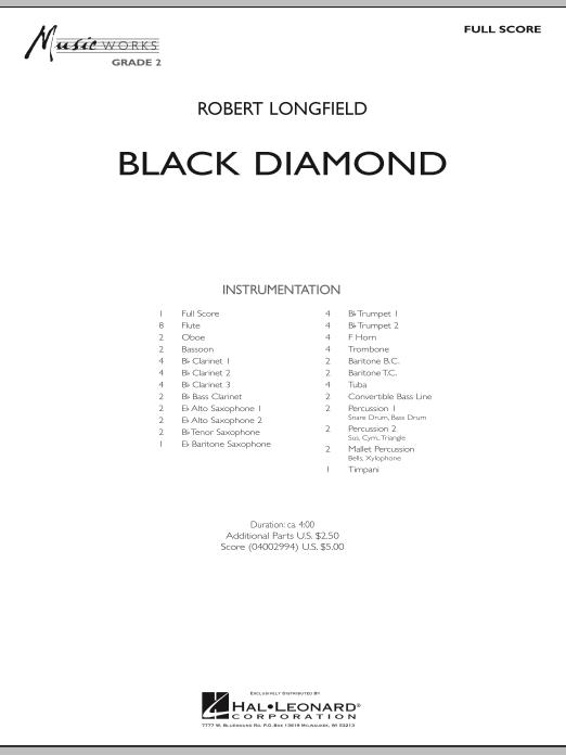 Robert Longfield Black Diamond - Full Score sheet music notes and chords. Download Printable PDF.