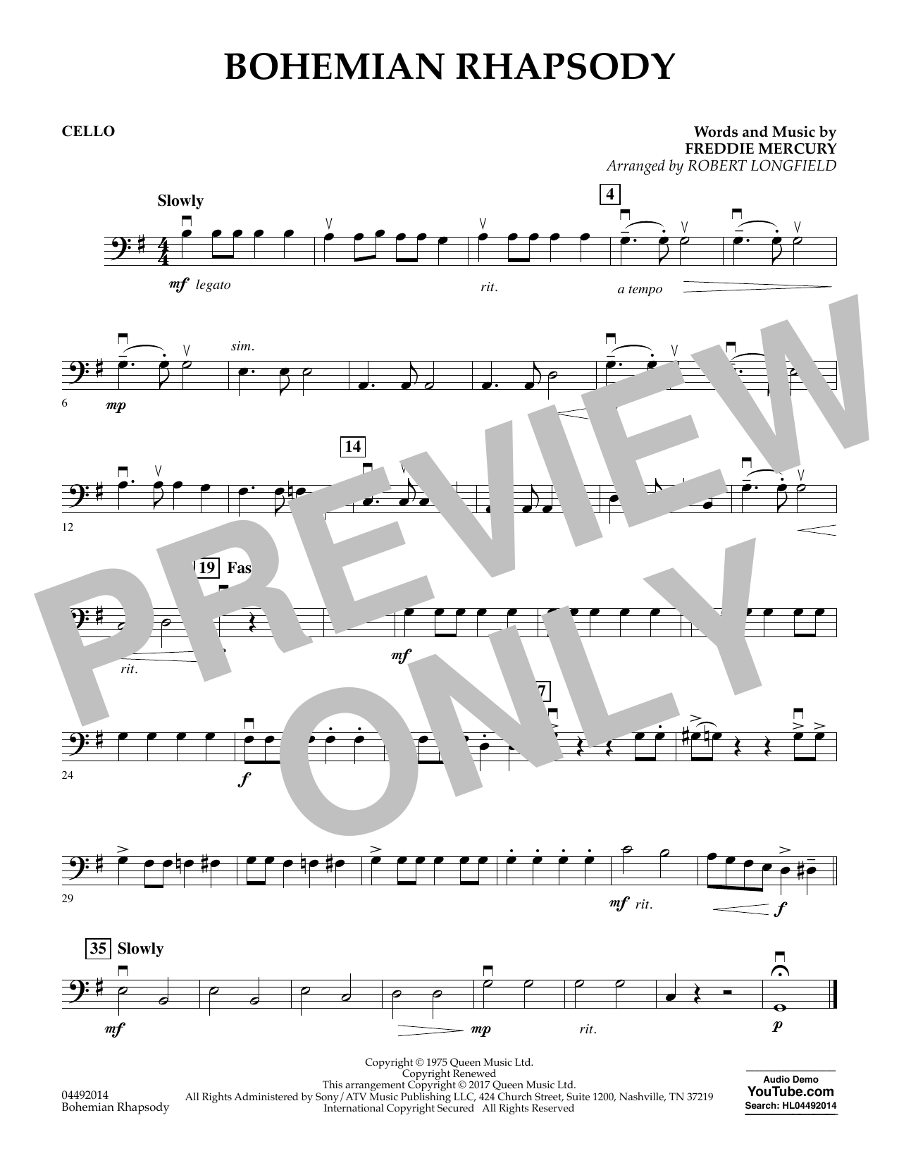 Robert Longfield Bohemian Rhapsody - Cello sheet music notes and chords. Download Printable PDF.