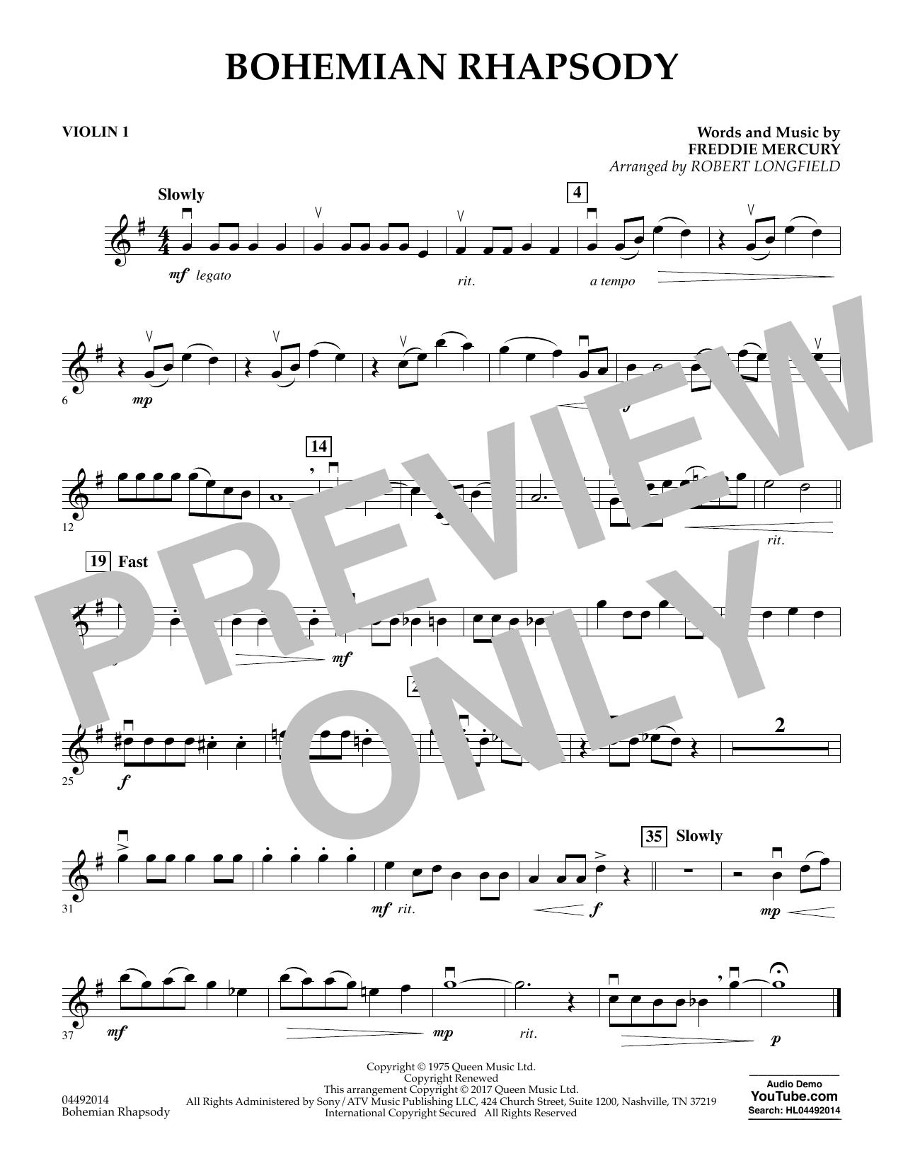 Robert Longfield Bohemian Rhapsody - Violin 1 sheet music notes and chords. Download Printable PDF.