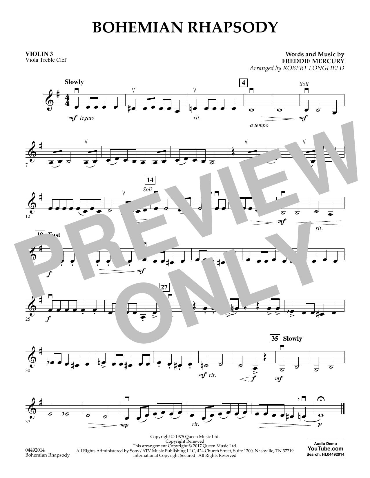 Robert Longfield Bohemian Rhapsody - Violin 3 (Viola T.C.) sheet music notes and chords. Download Printable PDF.