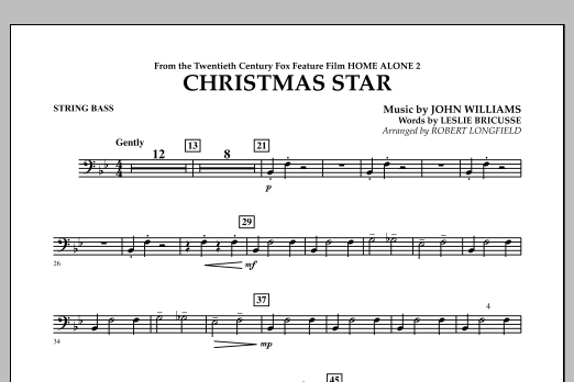 Robert Longfield Christmas Star (from Home Alone 2: Lost in New York) - Bass sheet music notes and chords. Download Printable PDF.