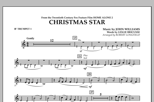 Robert Longfield Christmas Star (from Home Alone 2: Lost in New York) - Bb Trumpet 1 sheet music notes and chords. Download Printable PDF.