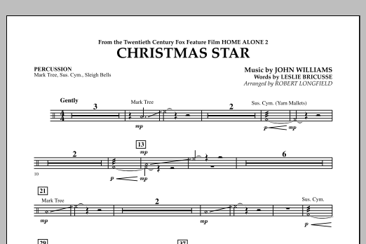 Robert Longfield Christmas Star (from Home Alone 2: Lost in New York) - Percussion sheet music notes and chords. Download Printable PDF.