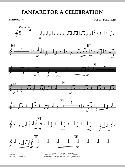 Robert Longfield Fanfare For A Celebration - Baritone T.C. sheet music notes and chords. Download Printable PDF.