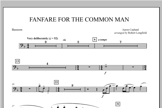 Robert Longfield Fanfare For The Common Man - Bassoon sheet music notes and chords. Download Printable PDF.