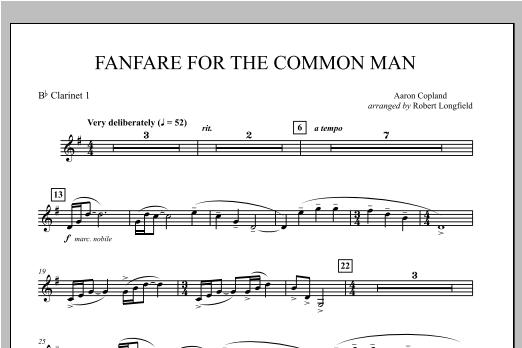 Robert Longfield Fanfare For The Common Man - Bb Clarinet 1 sheet music notes and chords. Download Printable PDF.