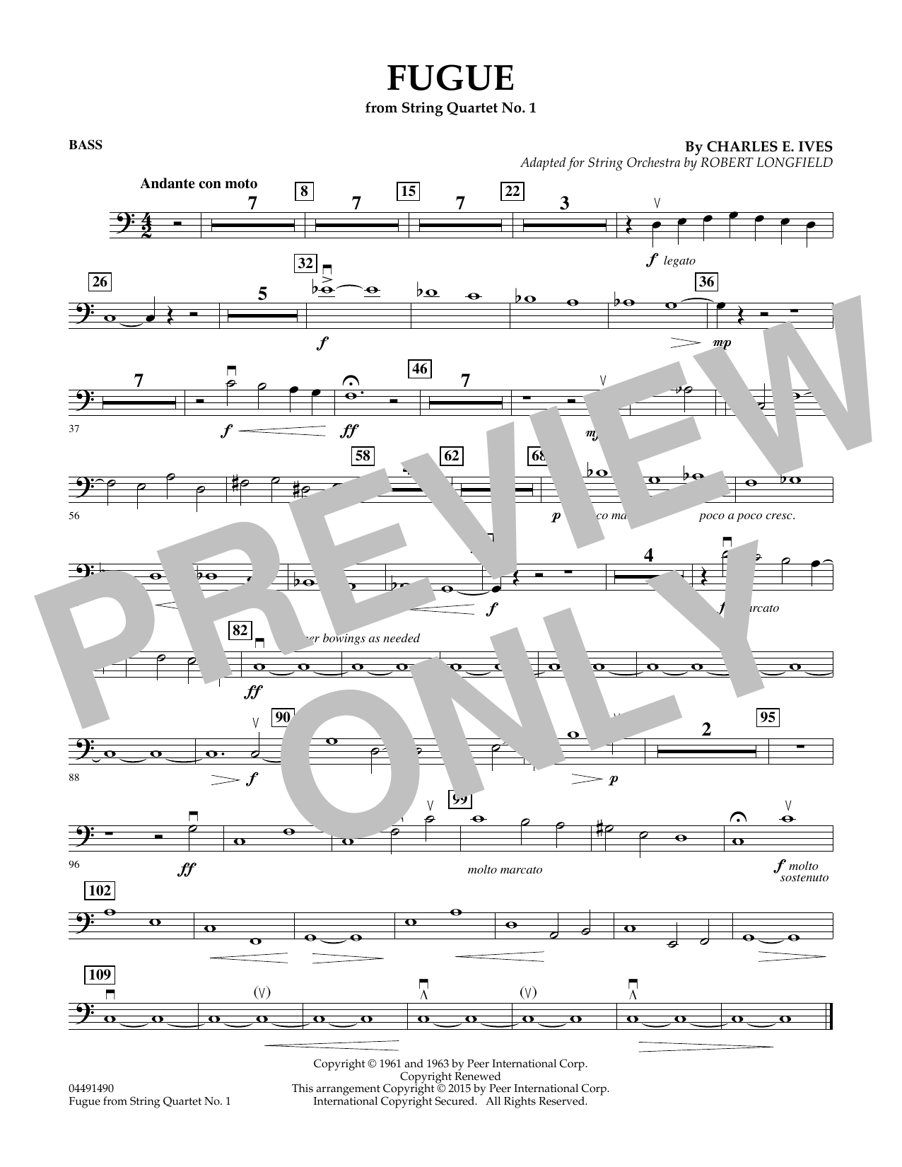 Robert Longfield Fugue from String Quartet No. 1 - Bass sheet music notes and chords. Download Printable PDF.